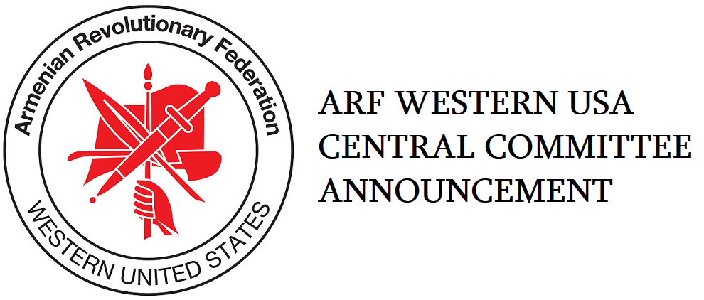 ARF Western US Central Committee Announcement on Zareh Sinanyan Visit